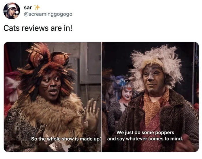 Text - sar @screaminggogogo Cats reviews are in! We just do some poppers So the whole show is made up and say whatever comes to mind.