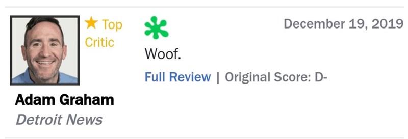 Text - December 19, 2019 * Top Critic Woof. Full Review | Original Score: D- Adam Graham Detroit News