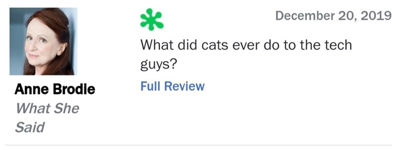 Text - December 20, 2019 What did cats ever do to the tech guys? Full Review Anne Brodie What She Said