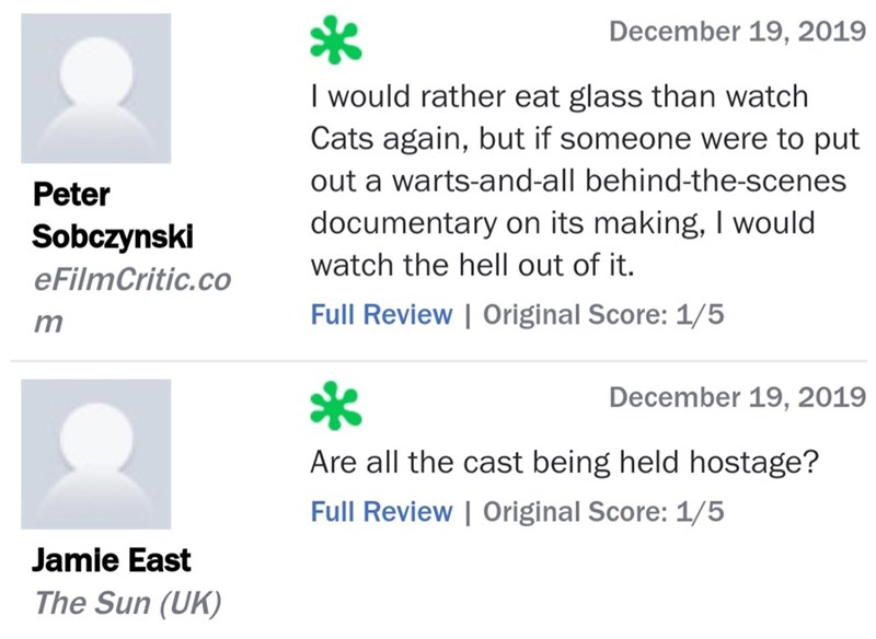 Text - December 19, 2019 I would rather eat glass than watch Cats again, but if someone were to put out a warts-and-all behind-the-scenes Peter documentary on its making, I would Sobczynski watch the hell out of it. eFilmCritic.co Full Review | Original Score: 1/5 December 19, 2019 Are all the cast being held hostage? Full Review | Original Score: 1/5 Jamie East The Sun (UK)