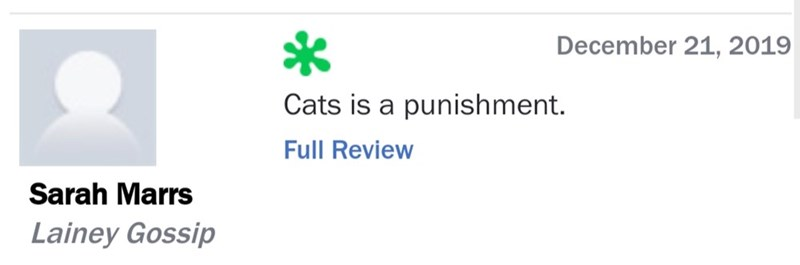 Text - December 21, 2019 Cats is a punishment. Full Review Sarah Marrs Lainey Gossip