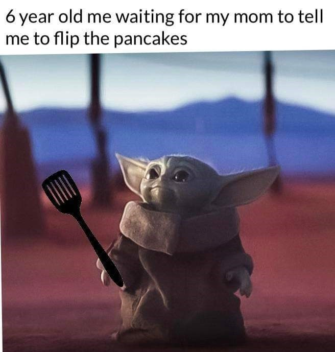 Photo caption - 6 year old me waiting for my mom to tell me to flip the pancakes