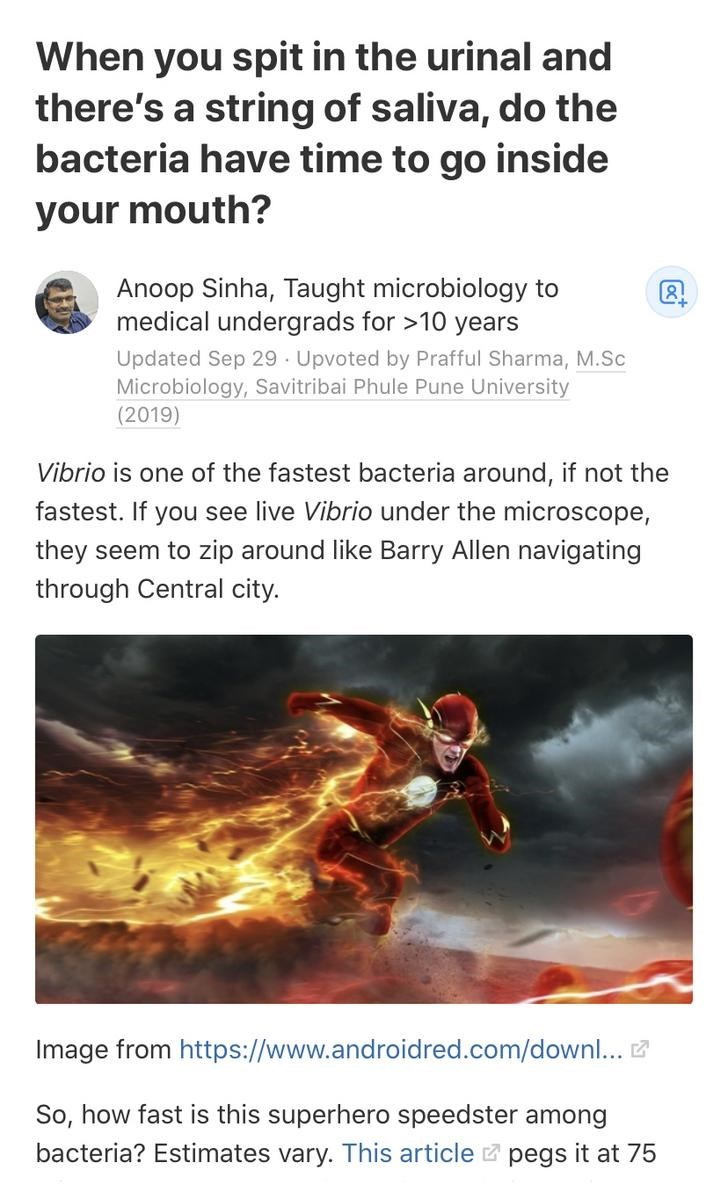 Text - When you spit in the urinal and there's a string of saliva, do the bacteria have time to go inside your mouth? Anoop Sinha, Taught microbiology to medical undergrads for >10 years Updated Sep 29 - Upvoted by Prafful Sharma, M.Sc Microbiology, Savitribai Phule Pune University (2019) Vibrio is one of the fastest bacteria around, if not the fastest. If you see live Vibrio under the microscope, they seem to zip around like Barry Allen navigating through Central city. Image from https://www.an