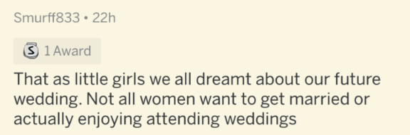 Text - Smurff833 • 22h S 1 Award That as little girls we all dreamt about our future wedding. Not all women want to get married or actually enjoying attending weddings