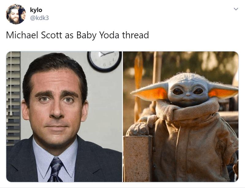 Photo caption - kylo @kdk3 Michael Scott as Baby Yoda thread