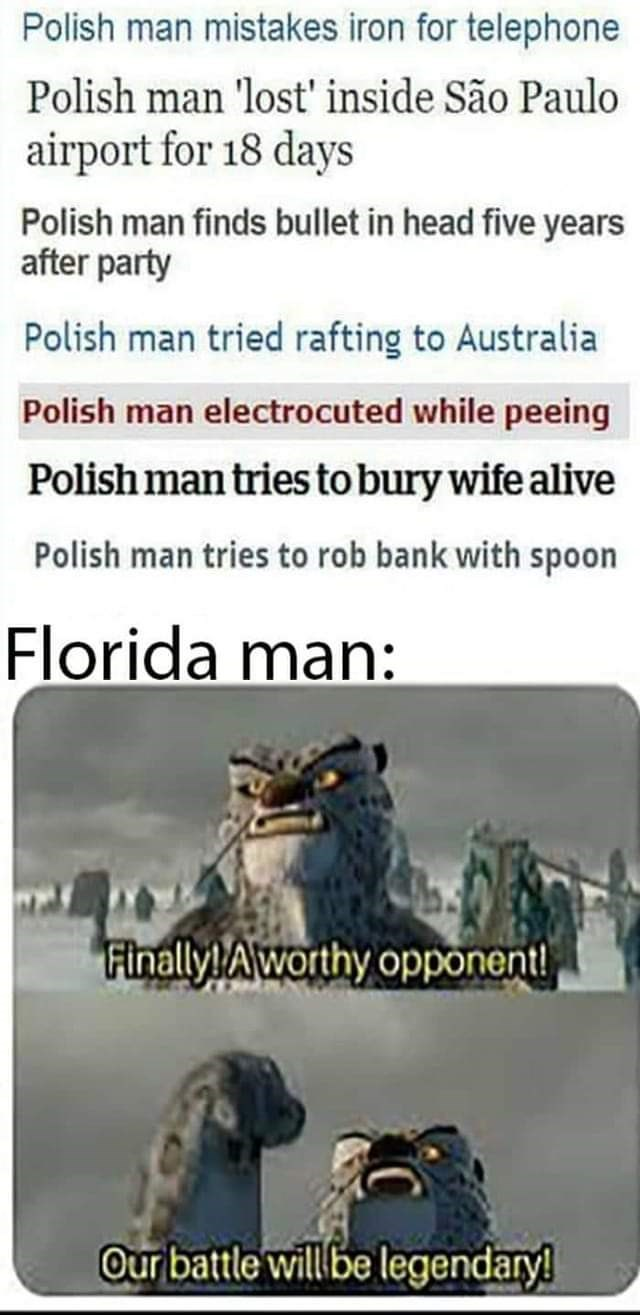 Text - Polish man mistakes iron for telephone Polish man 'lost' inside São Paulo airport for 18 days Polish man finds bullet in head five years after party Polish man tried rafting to Australia Polish man electrocuted while peeing Polish man tries to bury wife alive Polish man tries to rob bank with spoon Florida man: Finally Aworthy opponent! Our battle will be legendary!