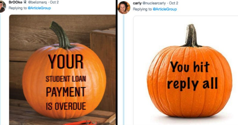 Tweets of realistic jack o lanterns that are scary for adults.