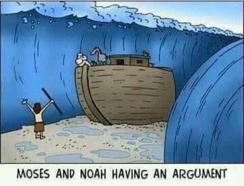 Cartoon - MOSES AND NOAH HAVING AN ARGUMENT