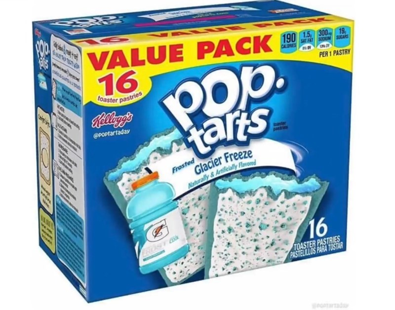 Aqua - VALUE PACK 190 16 SAT FAT SOOUM SUGARS CALORIES Pop tars PER 1 PASTRY Toaster pastries Rellangs @Poptartaday baster pastries Glacier Freeze Frosted Naturally & Artificially Flavored 16 EROST TOASTER PASTRIES PASTELILLOS PARA TOSTAR gronTartad te.