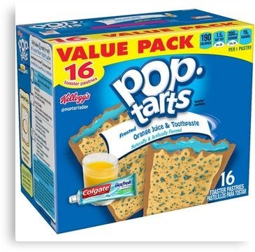 Vegetarian food - ఇంద VALUE PACK A 16 PERI PASTRY ter paste erortartadav tars Frosted Oranse Juice & Toothpaste ally&Any Colgate eat 16 TDASTER PASTRIES. PASTELS OS