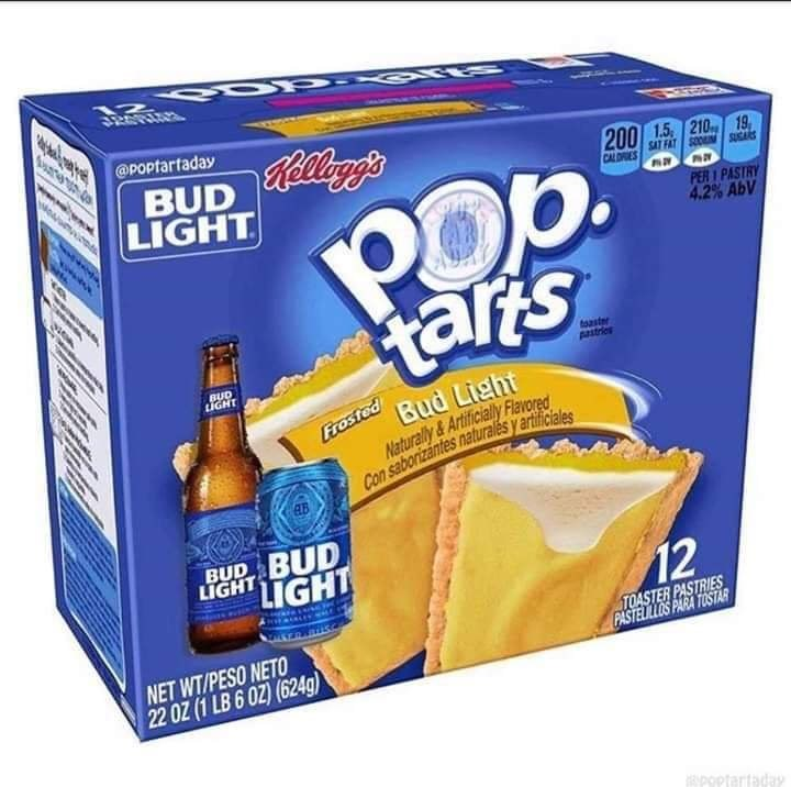 Packaging and labeling - @Poptartaday Rellagg's LIGHT 2001.5 210 19 SAT FAT SOO SUSAS CALDRES PER I PASTRY 4.2% AbV tars toaster pastries BUD LIGHT Bud Light Naturally & Artificially Flavored Con saborizántes naturalés y artificiales Frosted BUD BUD LIGHT LIGHT 12 TOASTER PASTRIES PASTELLLOS PARA TOSTAR NET WT/PESO NETO 22 OZ (1 LB 6 0Z) (624g)