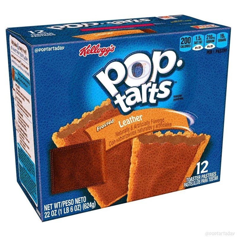 ব @POptartaday Rellog's 200 1.5 210g 19, SAT FAT SODIUM SUGARS POp. tarts CALORIES 9% DV 9% DV PER 1 PASTRY toaster pastries Leather Naturally &Artificially Flavored Con saborizantes naturalés y artificiales Frosted 12 TOASTER PASTRIES PASTELILLOS PARA TOSTAR NET WT/PESO NETO 22 OZ (1 LB 6 OZ) (624g) @POptartaday ఇ న