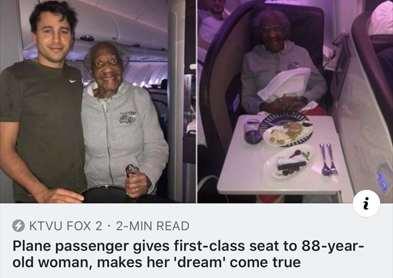 Photo caption - KTVU FOX 2· 2-MIN READ Plane passenger gives first-class seat to 88-year- old woman, makes her 'dream' come true