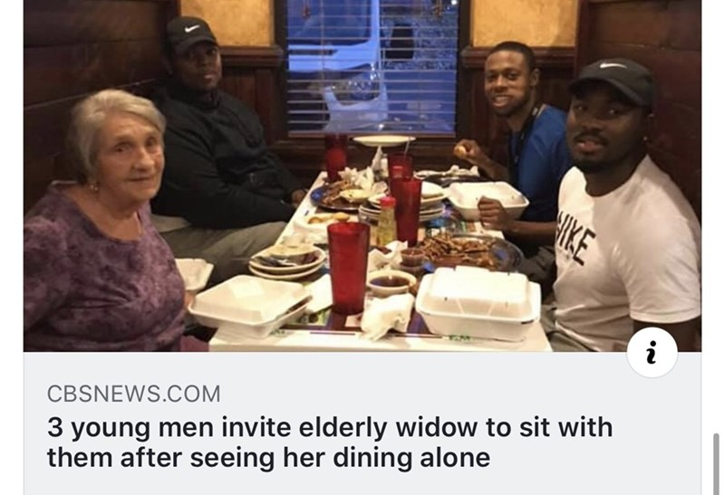 Meal - KE 3 young men invite elderly widow to sit with them after seeing her dining alone CBSNEWS.COM