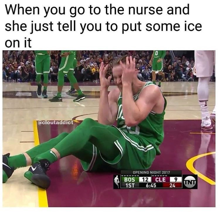 Wrestling - When you go to the nurse and she just tell you to put some ice on it @cloutaddict OPENING NIGHT 2017 BOS 1ST 12 CLE9 6:45 TNT 24