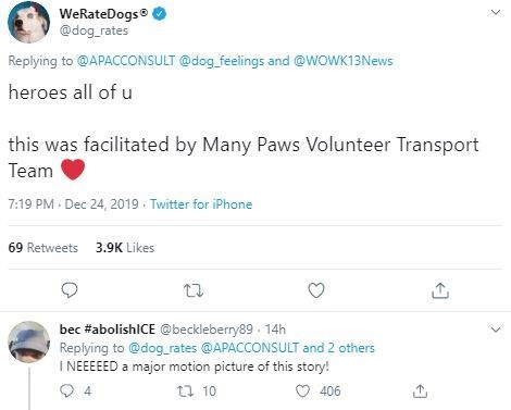 Text - WeRateDogs® @dog_rates Replying to @APACCONSULT @dog_feelings and @WOWK13News heroes all of u this was facilitated by Many Paws Volunteer Transport Team 7:19 PM · Dec 24, 2019 Twitter for iPhone 3.9K Likes 69 Retweets bec #abolishlCE @beckleberry89. 14h Replying to @dog_rates @APACCONSULT and 2 others I NEEEEED a major motion picture of this story! 17 10 406