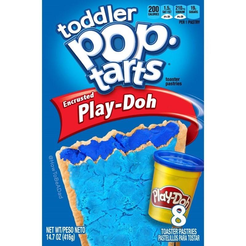 200 1.5. 210 19, SAT FAT SODIUM SUGARS CALORIES toddler PER 1 PASTRY tarts Play-Doh toaster pastries Encrusted Play-Do NET WT/PESO NETO 14.7 OZ (416g) TOASTER PASTRIES PASTELILLOS PARA TOSTAR @How ToBeADad