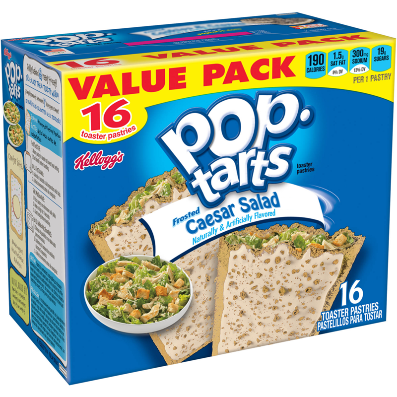 Food - EMASIOONNIRsTA VALUE PACK 16 190 1.5, 300mng 19, SAT FAT SODIUM SUGARS CALORIES 8% DV 13% DV POp. tarts PER 1 PASTRY toaster pastries Rellaggs toaster pastries Catsdiy Caesar Salad Naturally & Artificially Flavored Frosted thie AR 16 TOASTER PASTRIES PASTELILLOS PARA TOSTAR