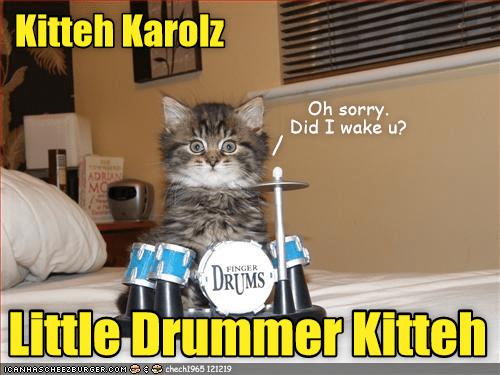 Cat - Kitteh Karolz Oh sorry. Did I wake u? ADRIAN MO DRUMS FINGER Little Drümmer Kitteh ICANHASCHEEZBURGER.COM R chech1965 121219