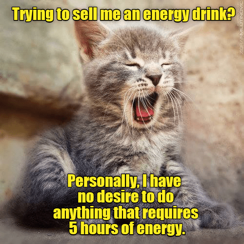 Photo caption - Trying to sell me an energy drink? Personally, I have no desire to do anything that requires 5 hours of energy.
