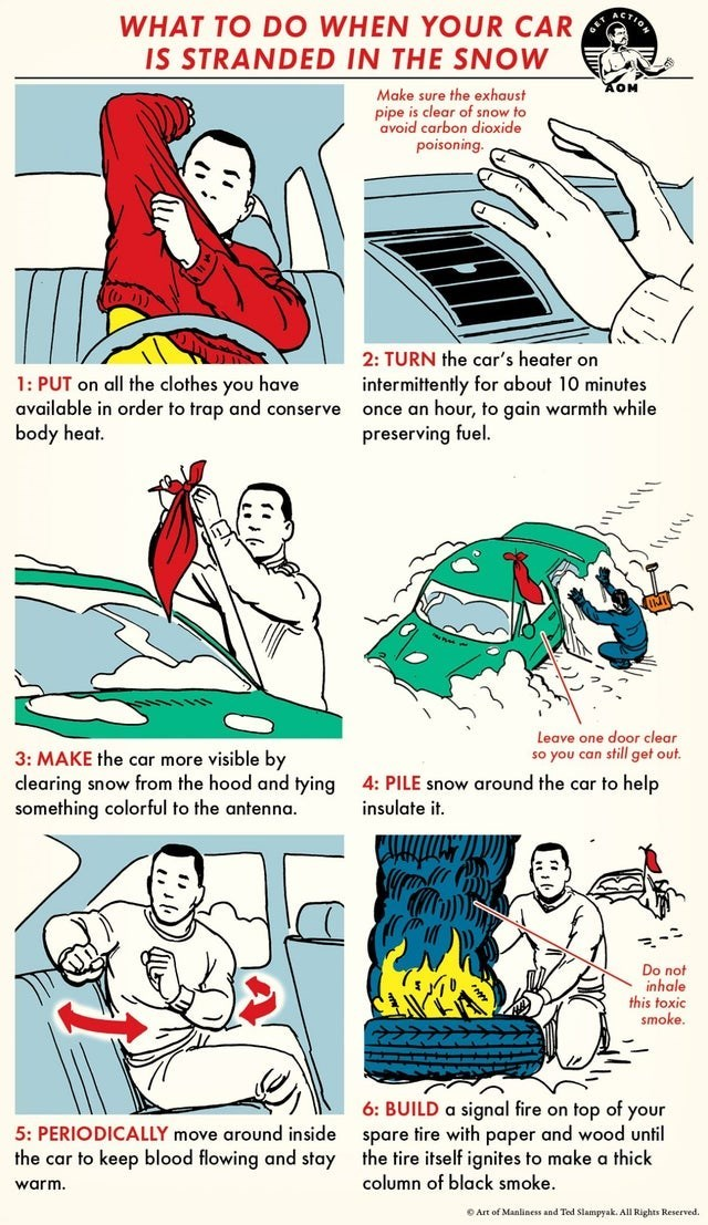 Cartoon - WHAT TO D O WHEN YOUR CAR IS STRANDED IN THE SNOW Make sure the exhaust pipe is clear of snow to avoid carbon dioxide poisoning. 2: TURN the car's heater on intermittently for about 10 minutes once an hour, to gain warmth while preserving fuel. 1: PUT on all the clothes you have available in order to trap and conserve body heat. Leave one door clear so you can still get out. 3: MAKE the car more visible by clearing snow from the hood and tying something colorful to the antenna. 4: PILE