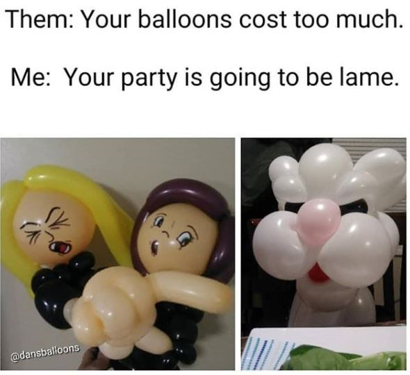 Balloon - Them: Your balloons cost too much. Me: Your party is going to be lame. @dansballoons