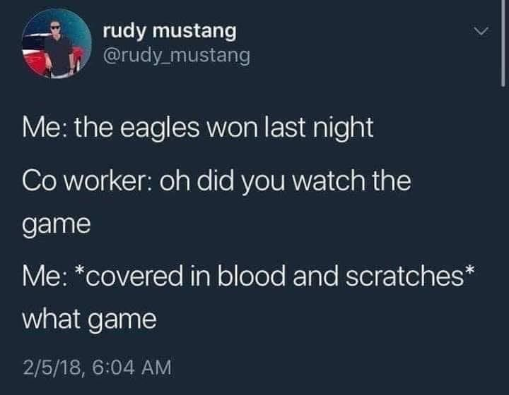 Text - rudy mustang @rudy_mustang Me: the eagles won last night Co worker: oh did you watch the game Me: *covered in blood and scratches* what game 2/5/18, 6:04 AM