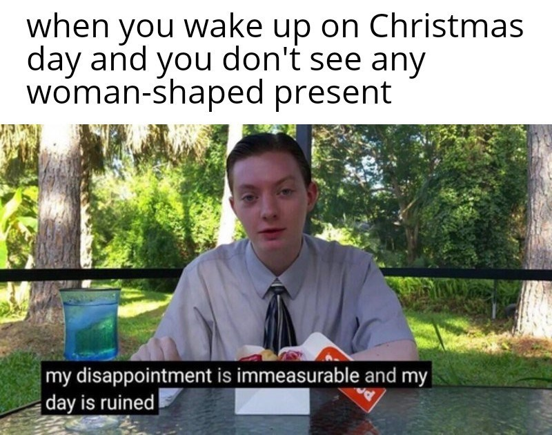 Adaptation - when wake up on Christmas you day and you don't see any woman-śhaped present my disappointment is immeasurable and my day is ruined