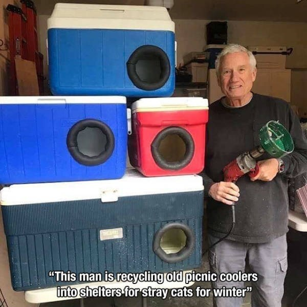 "Loudspeaker - ""This man is recycling old picnic coolers into shelters for stray cats for winter"""