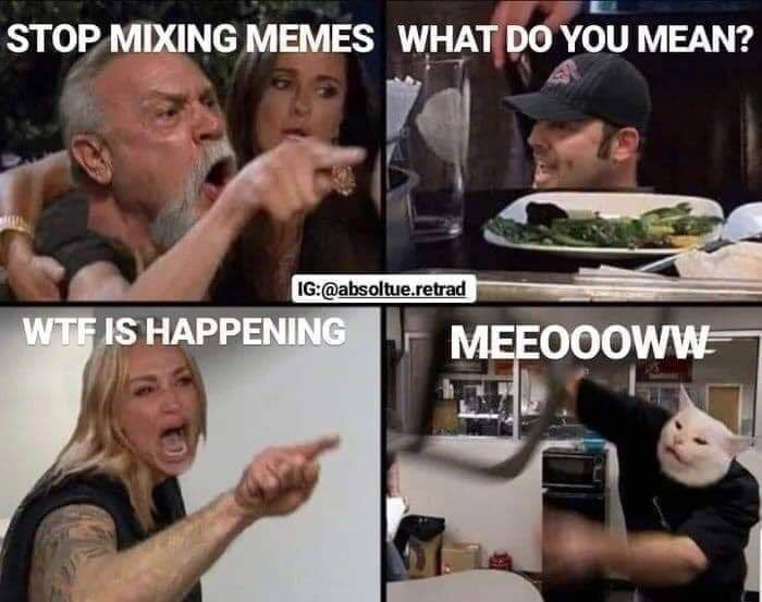 Internet meme - STOP MIXING MEMES WHAT DO YOU MEAN? IG:@absoltue.retrad WTF IS HAPPENING MEEOOOWW