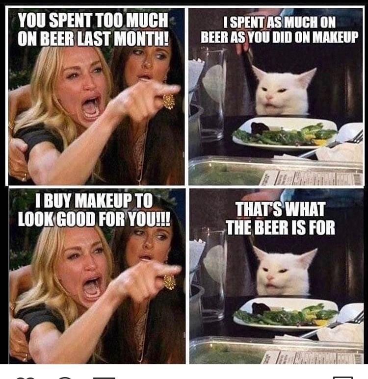 تعبيرات الوجه - لقد قضيت الكثير في البيرة الشهر الماضي!  لقد أنفقت الكثير على البيرة كما فعلت في المكياج أشتري المكياج لأبدو جيدًا بالنسبة لك!  هذا هو الغرض من البيرة