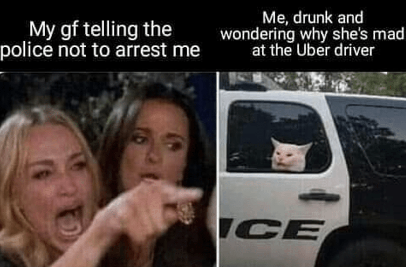 Mode of transport - Me, drunk and wondering why she's mad at the Uber driver My gf telling the police not to arrest me ICE