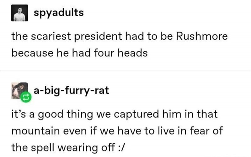 Text - spyadults the scariest president had to be Rushmore because he had four heads a-big-furry-rat it's a good thing we captured him in that mountain even if we have to live in fear of the spell wearing off :/