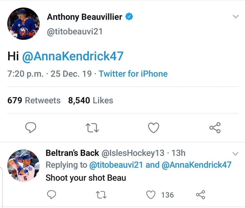 Text - Anthony Beauvillier @titobeauvi21 Hi @AnnaKendrick47 7:20 p.m. · 25 Dec. 19 · Twitter for iPhone 679 Retweets 8,540 Likes Beltran's Back @IslesHockey13 · 13h Replying to @titobeauvi21 and @AnnaKendrick47 Shoot your shot Beau 136