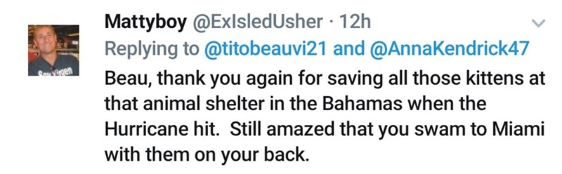 Text - Mattyboy @ExlsledUsher · 12h Replying to @titobeauvi21 and @AnnaKendrick47 Beau, thank you again for saving all those kittens at that animal shelter in the Bahamas when the Hurricane hit. Still amazed that you swam to Miami with them on your back.