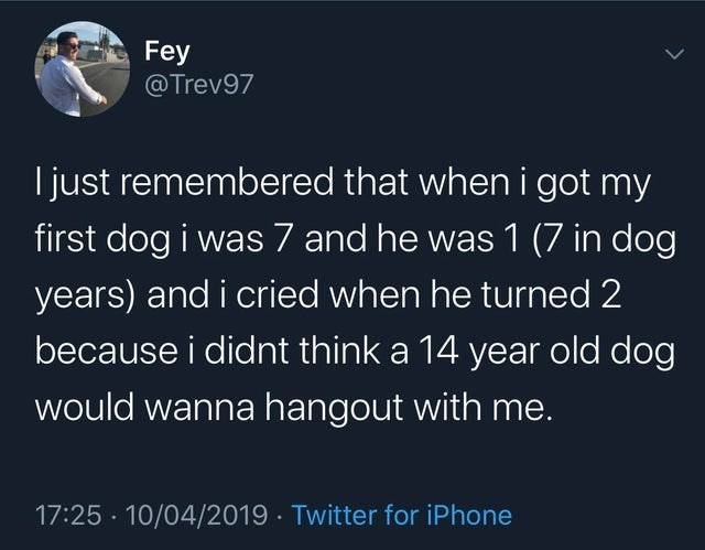 Text - Fey @Trev97 I just remembered that when i got my first dog i was 7 and he was 1 (7 in dog years) and i cried when he turned 2 because i didnt think a 14 year old dog would wanna hangout with me. 17:25 · 10/04/2019 · Twitter for iPhone