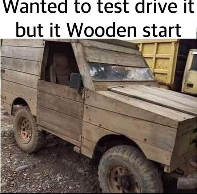 Vehicle - Wanted to test drive it but it Wooden start