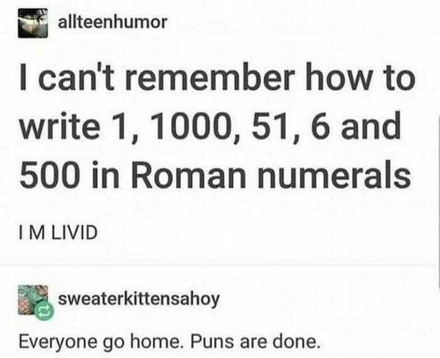 Text - allteenhumor I can't remember how to write 1, 1000, 51, 6 and 500 in Roman numerals IM LIVID sweaterkittensahoy Everyone go home. Puns are done.