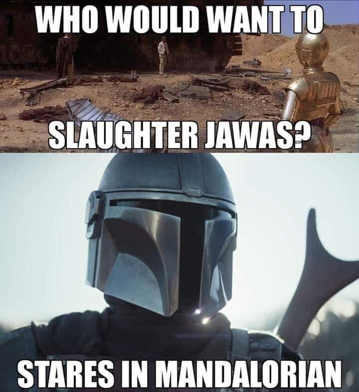 Helmet - WHO WOULD WANT TO SLAUGHTER JAWAS? STARES IN MANDALORIAN