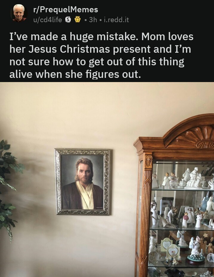 Text - r/PrequelMemes u/cd4life 9 • 3h • i.redd.it I've made a huge mistake. Mom loves her Jesus Christmas present and I'm not sure how to get out of this thing alive when she figures out. wwwwww