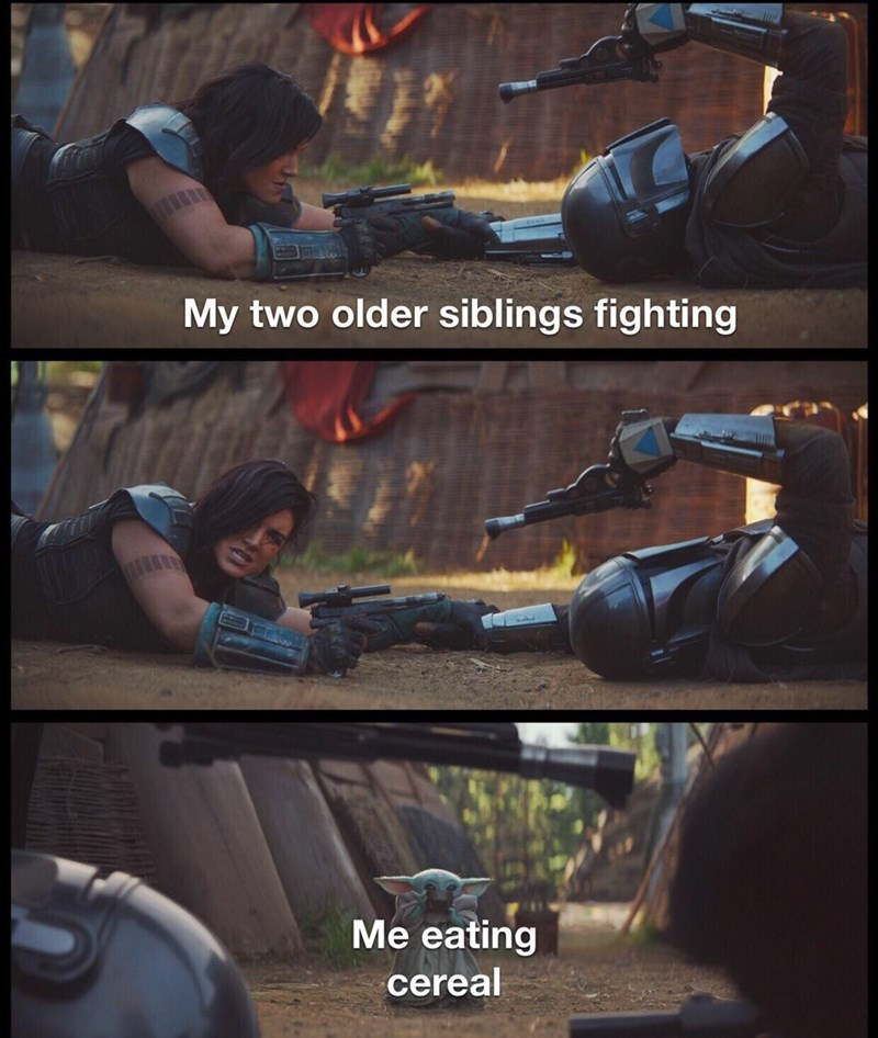 Fictional character - My two older siblings fighting Me eating cereal