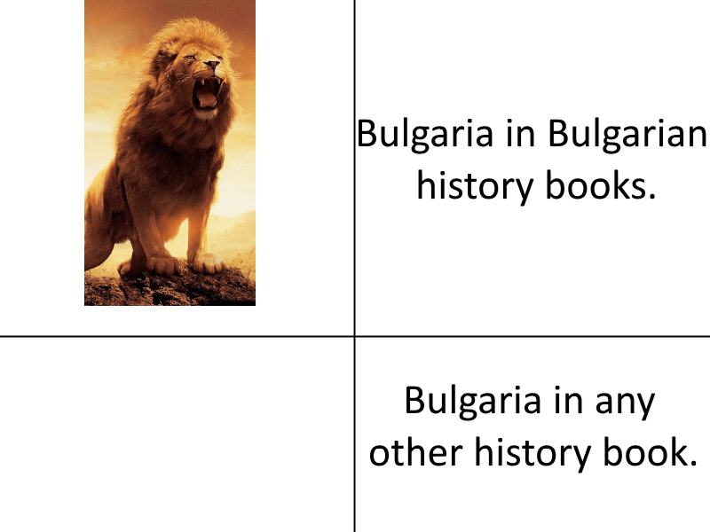 Text - Bulgaria in Bulgarian history books. Bulgaria in any other history book.