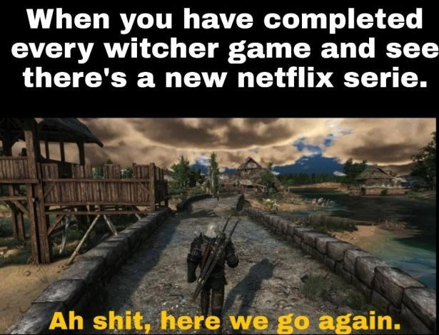 Adaptation - When you have completed every witcher game and see there's a new netflix serie. Ah shit, here we go again.