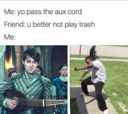 Guitar - Me: yo pass the aux cord Friend: u better not play trash Me: