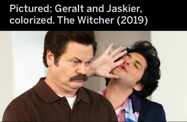 Facial expression - Pictured: Geralt and Jaskier, colorized. The Witcher (2019)