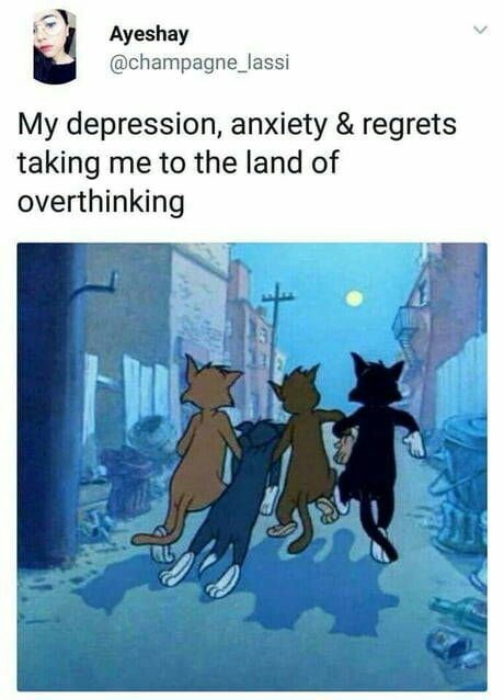 Cartoon - Ayeshay @champagne_lassi My depression, anxiety & regrets taking me to the land of overthinking