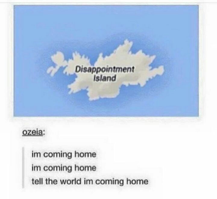 Text - Disappointment Island ozeia: im coming home im coming home tell the world im coming home