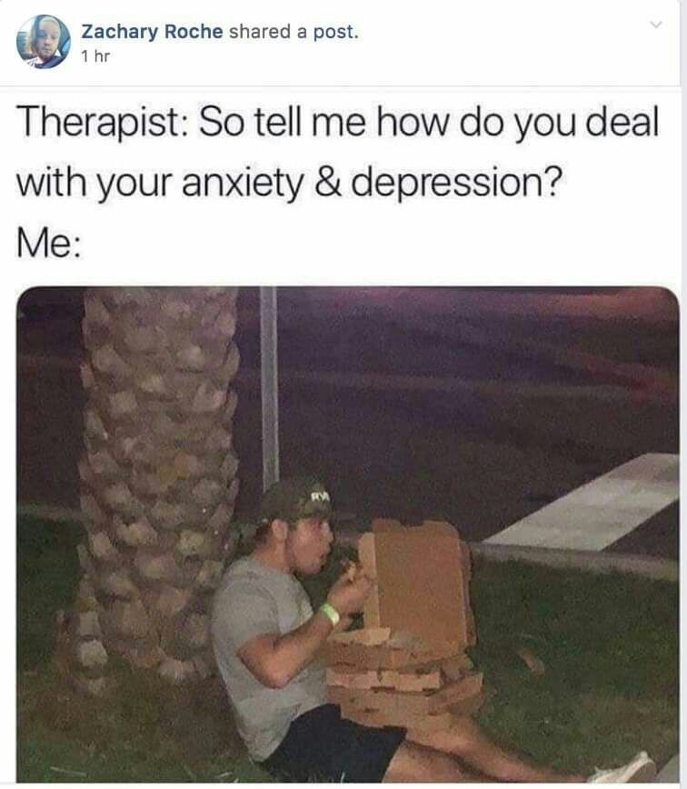 Text - Zachary Roche shared a post. 1 hr Therapist: So tell me how do you deal with your anxiety & depression? Me: