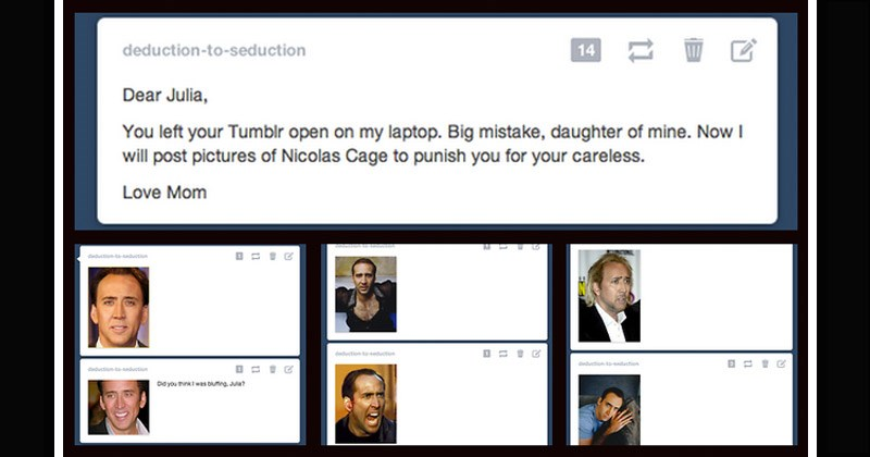 Funny back-and-forth conversation between mother and daughter where they post photos of Nicolas Cage in odd places for each other to find