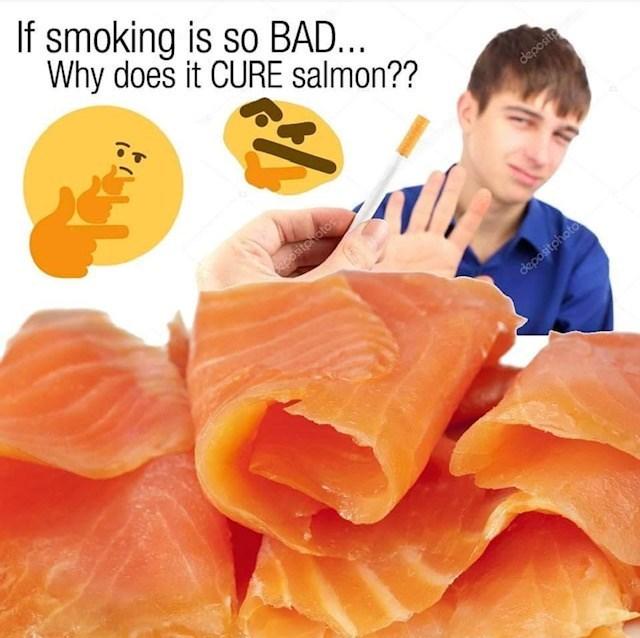 Smoked salmon - If smoking is so BAD... Why does it CURE salmon?? deposite epositphotos depositphoto